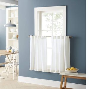 Light-Filtering Cafe Curtain Set White Honeycomb